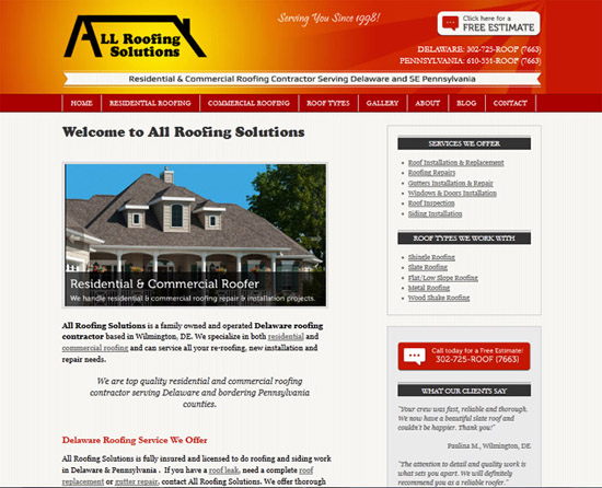 All Roofing Solutions WordPress website - landing page