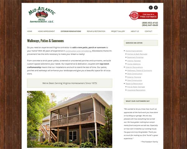 New Custom WordPress Website for Mid-Atlantic Completed