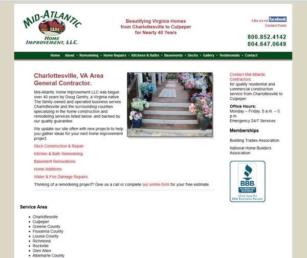 Mid-Atlantic Home Improvement website before the redesign